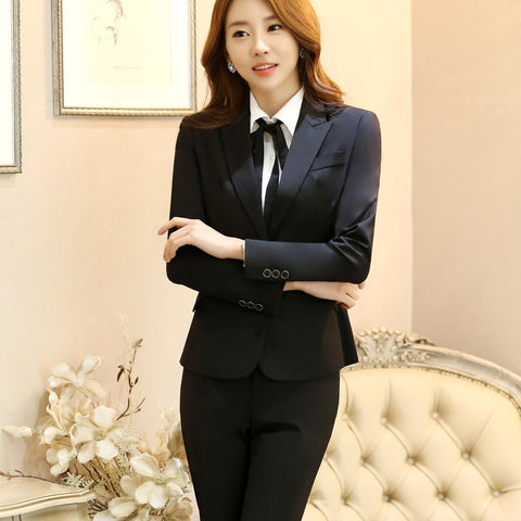 Notched Collar Formal Pant Suit Office Lady