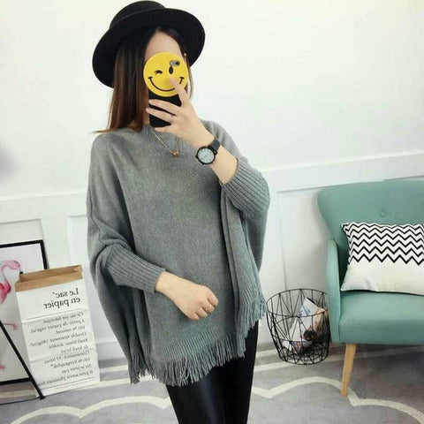 Pullovers And Sweaters Loose Tassel Soft Shawl Poncho