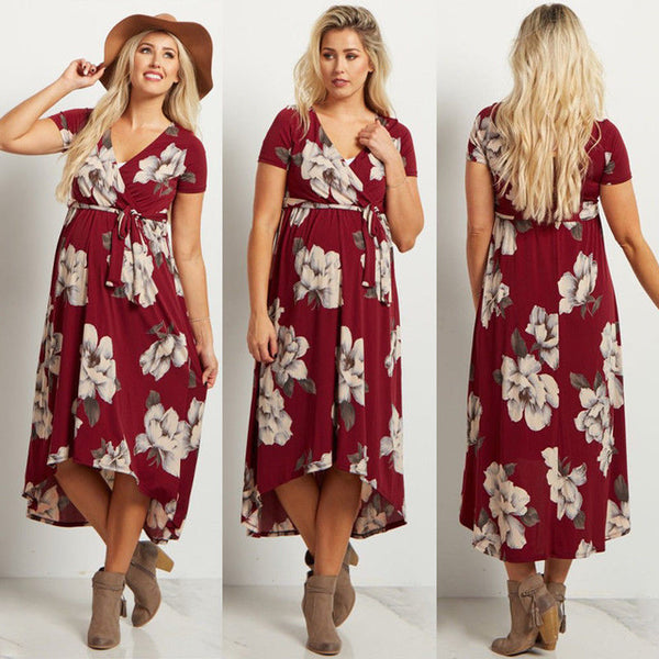 New Style Pregnant Women Floral Long Maxi Dress