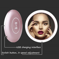 Mini Circular Makeup Mirror Portable With Sensor LED USB Charging