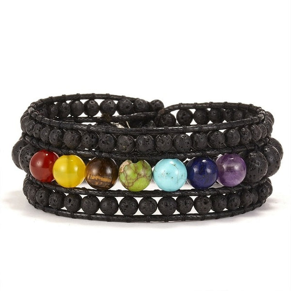 1PC Black Volcanic Stone Beads Colorful Seven Chakras Rope Chain Bracelet