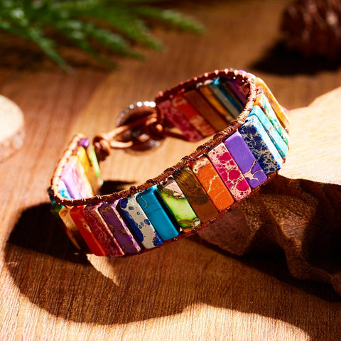 1PC Colorful Seven Chakras Natural Stone Leather Rope Chain Bracelet