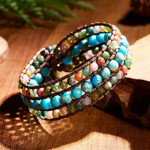 1PC Ethnic Beautiful Natural Stone Beads Leather Wrap Bracelet