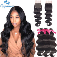 Sapphire Brazilian Hair Wave Bundles With Closure Body Wave