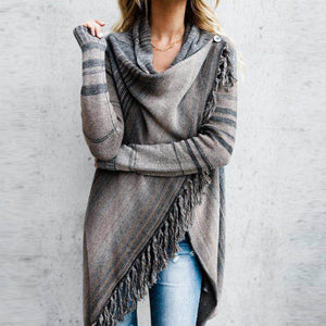 Women Tassel Knitted Sweater Poncho