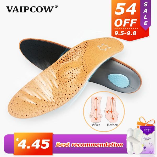 High quality Leather orthotic insole for Flat Feet Arch Support orthopedic shoes