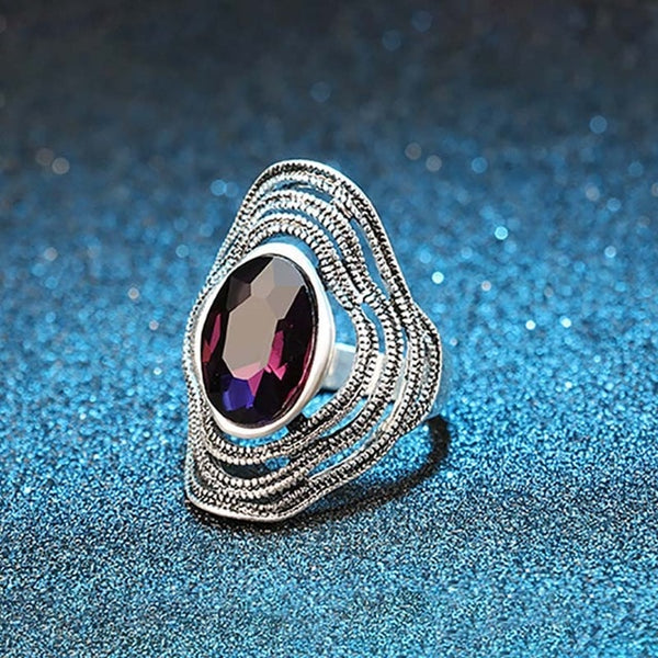 Vintage Blue Purple Glass Ring Silver Big Wave