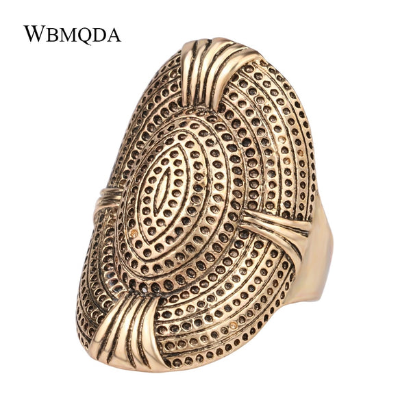 Vintage Luxury Big Antique Gold Ring color For Women