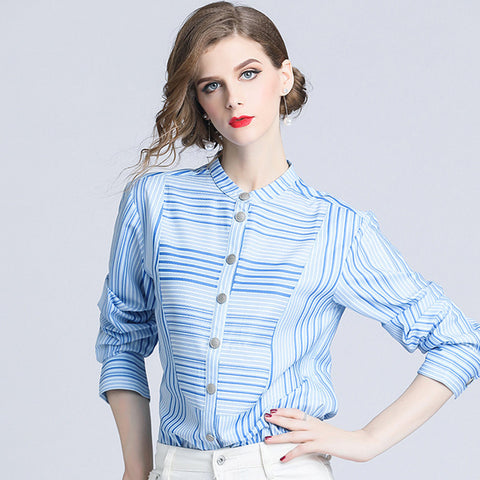 Women Cotton Blouse Office Lady Spring