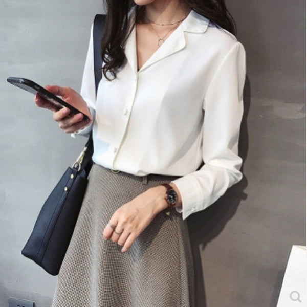 Women Blouse Plus Size Chiffon Top Office Lady WHITE  BLACK BLUE