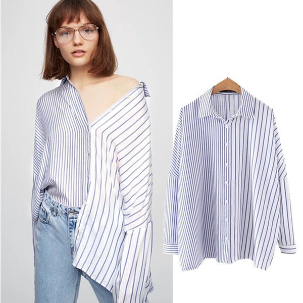 Women Blouse Striped Cardigan Top Office Lady