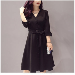 Vintage solid frock formal office lady casual Dress