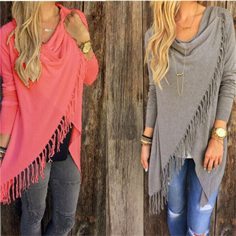 Tassel Pullovers Plus Size Women Knitted Sweater Poncho