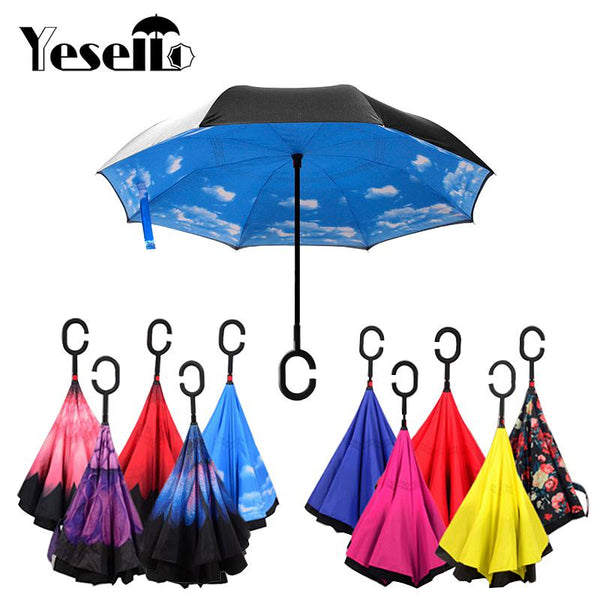 Yesello Folding Reverse Umbrella Double Layer Inverted Windproof