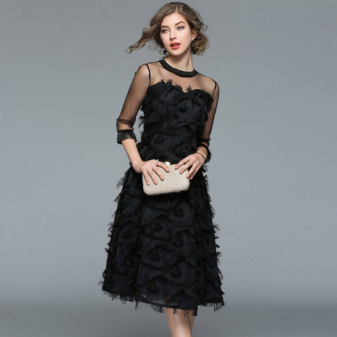 Black vintage tassel feather dress strapless half sleeve