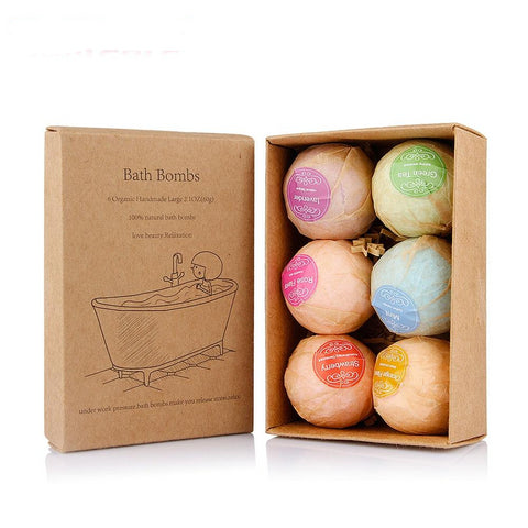 6 pcs Organic Bath Bombs Bubble Bath Salts