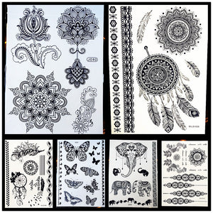 25 Styles Non-Toxic Women Henna Tattoo Black Lotus Mandala Flower Waterproof Temporary Tattoo
