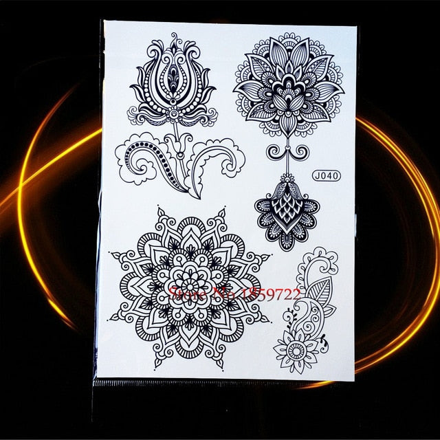25 Styles Non-Toxic Women Henna Tattoo Black Lotus Mandala Flower ...