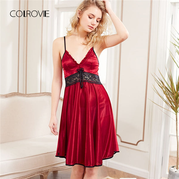 COLROVIE  Red Sleeveless Lace Panel Slip Nightgowns