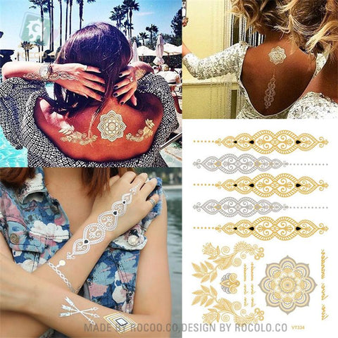 Body Art Painting tattoo stickers Metal gold silver