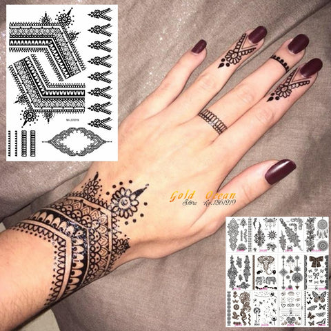 25 Styles Black Henna Temporary Tattoo Sticker