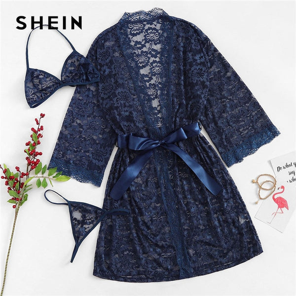 SHEIN Navy Scallop Floral Lace Coat Robe With Lingerie Set