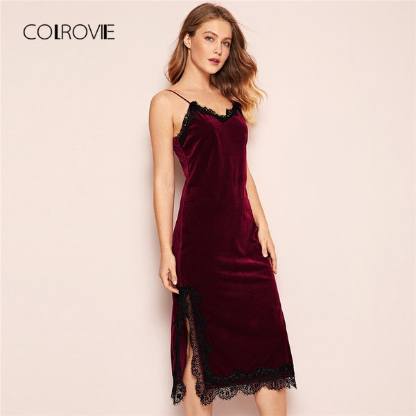 COLROVIE Burgundy V-Neck Eyelash Lace Split Velvet Long Cami Night Dress