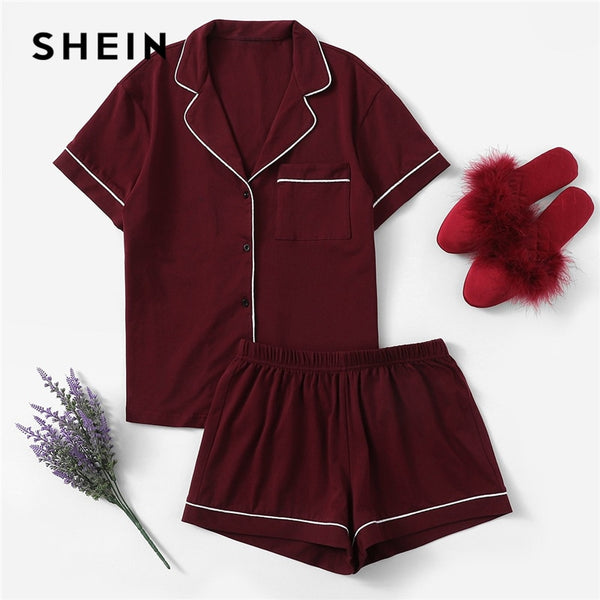 SHEIN Burgundy Contrast Piping Pocket Front Shirt And Shorts PJ Set