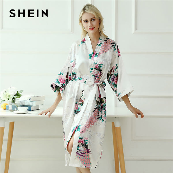 SHEIN Multicolor Peacock and Flower Print Self Belted Robe V Neck 3/4 Sleeve