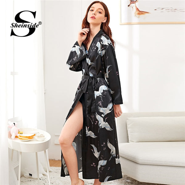 Sheinside Crane Print Satin Long Robe V Neck