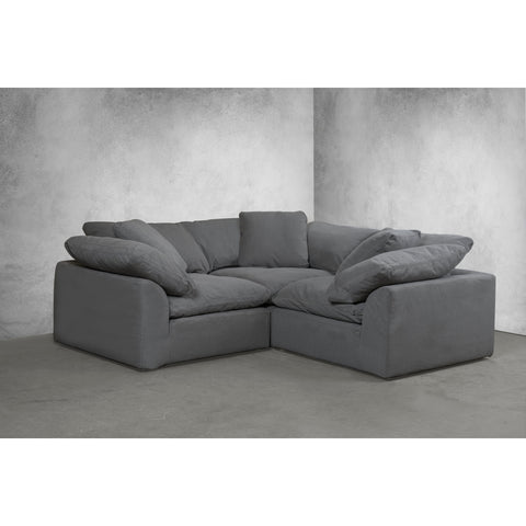 Sunset Trading Cloud Puff 3 Piece Slipcovered Performance Gray Modular Sectional Small L Shaped Sofa Living Room Furniture SU-1458-94-3C
