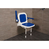 "Arc First 4000 Series 19"" Wide Folding Shower Seat with Arms, Back & Blue Pads 04130P"