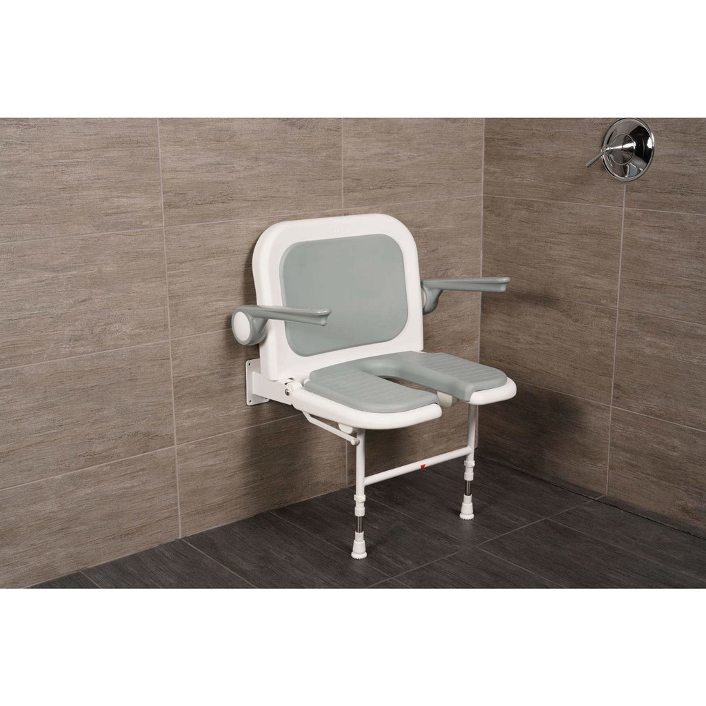 "Arc First 4000 Series 23¾"" Wide Folding Shower Seat with Arms, Back, Gray Pads & ""U"" Shaped 04250P"