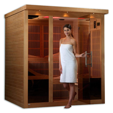 Golden Designs Monaco Near Zero EMF Far Infrared Canadian Hemlock 6-Person Sauna GDI-6996-01