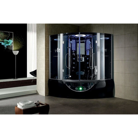 Maya Bath Valencia Black 2-Person Freestanding Steam Shower 107