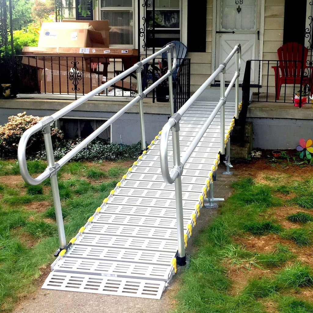 Roll-A-Ramp Modular Portable Ramp With Straight End Handrail On Two Sides M30-5-2