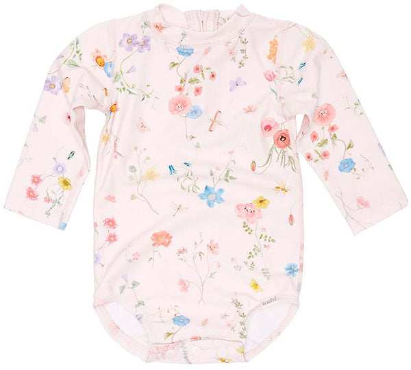 Toshi Swim Long Sleeve Onesie Floral Mermaid