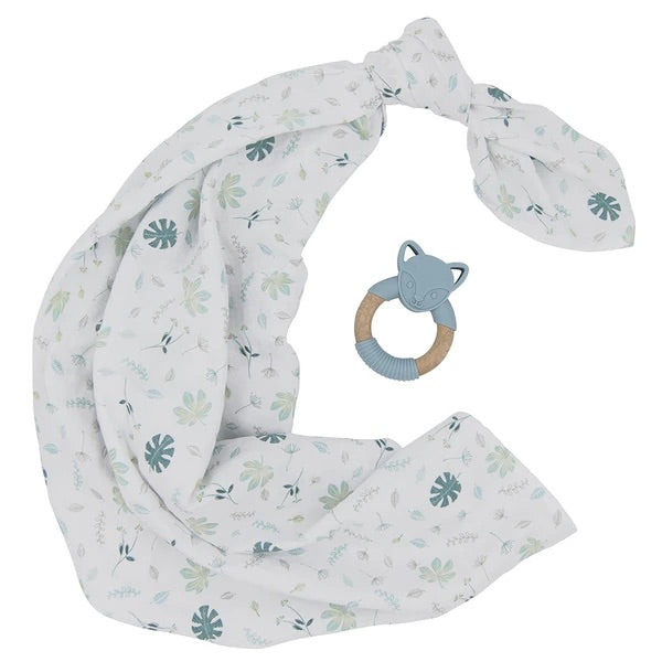 Organic Muslin Swaddle and Teether Gift Set Banana Leaf