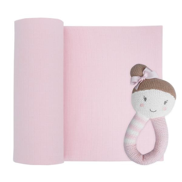 Sophia Ballerina Rattle with Muslin Swaddle Set