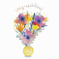 Congratulations! Card with Vase of Flowers