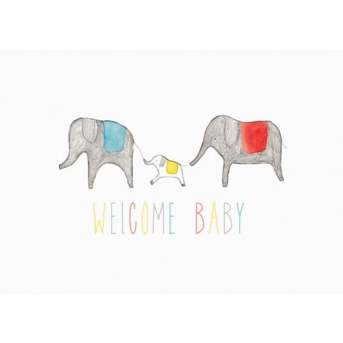 Welcome Baby Card with Elephants