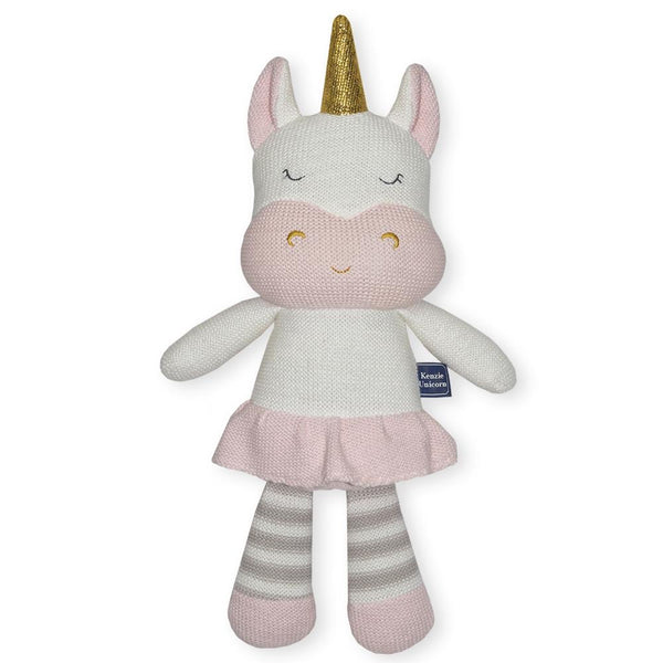 Kenzie the Unicorn knitted soft toy with rattle