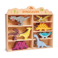 8pce Wooden Dinosaurs with Display Shelf