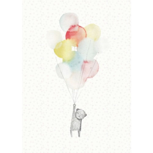 Teddy Bear Card with Balloons