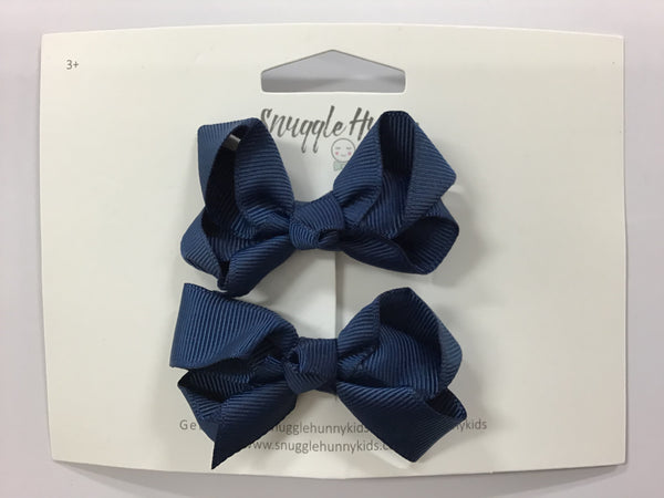 Snuggle Hunny Small 2 pack Bows Navy