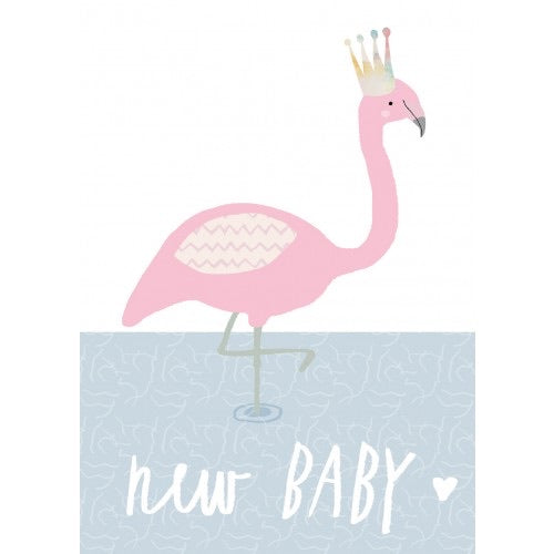 New Baby Card with Flamingo