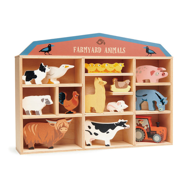 13pce Wooden Farmyard Animals with Display Shelf