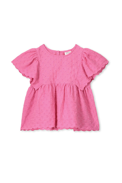 Milky Broderie Top Ultra Pink