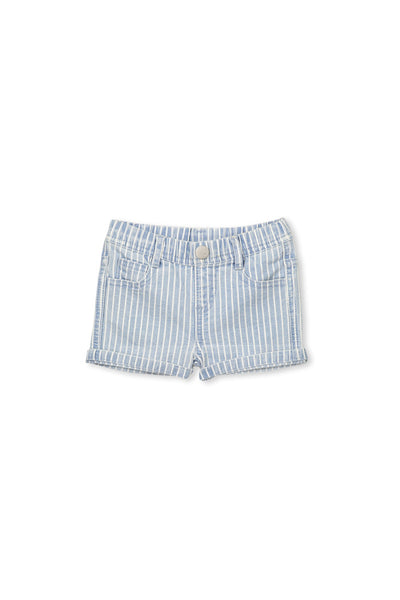 Milky Denim/White Stripe Shorts