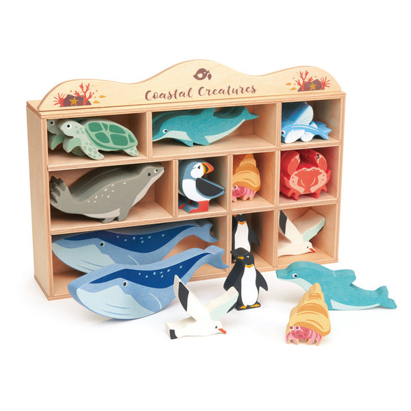 10pce Coastal Creatures with Display Shelf